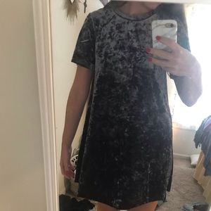 Midnight blue velvet t shirt dress